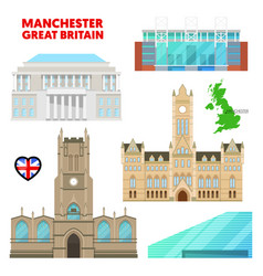 manchester travel set with architecture vector image vector image