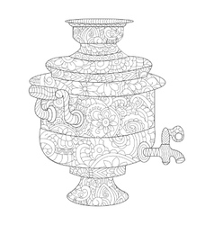 Samovar coloring book for adults vector image vector image