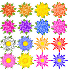 set of blue red yellow white pink orange vector image vector image