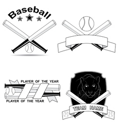 set of stylish baseball shortcuts vector image vector image