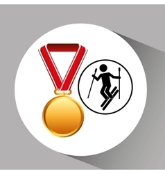 Ski medal sport extreme graphic vector