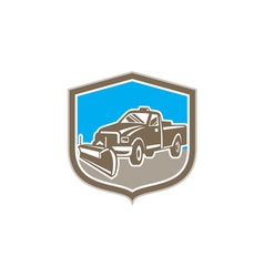 Snow Plow Truck Shield Retro vector image