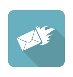 Square burning letter icon vector