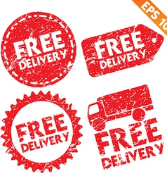 Stamp sticker Free Shipping tag collection - vector image