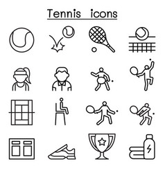 tennis icon set in thin line style vector image