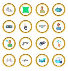 Virtual reality icons circle vector