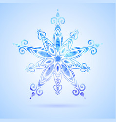 Watercolor blue snowflake vector