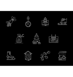 Winter holidays theme white line icons collection vector image