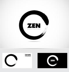 Zen logo circle grunge symbol vector
