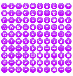 100 autumn holidays icons set purple vector