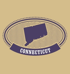 Connecticut map silhouette - oval stamp of state vector image
