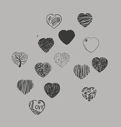 Painted hearts vector