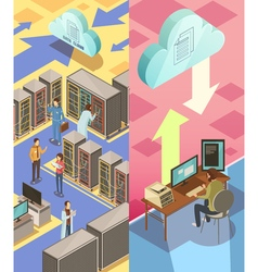 Information center isometric banners vector