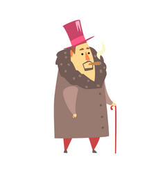 Millionaire rich man in coat and top hat smoking vector