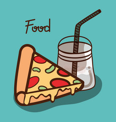 Delicious pizza and smoothi beverage icon vector