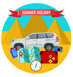 Summer holiday poster with travelling car road vector
