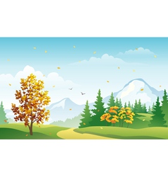Autumn mountain forest vector