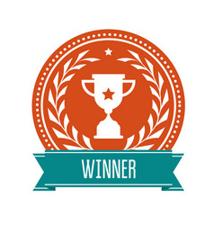 Winner award medal with sport cup vector