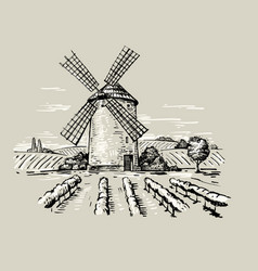 a mill vector image