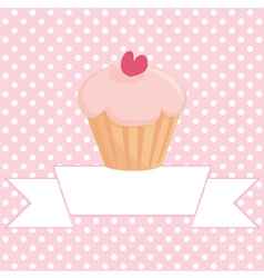 Cupcake on pink background with white polka dots vector