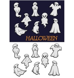 Cartoon halloween ghosts vector
