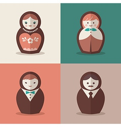 Russian doll groom and bride wedding icons vector