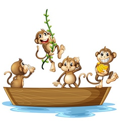 Monkeys on boat vector image