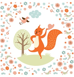 Greeting card squirell dances vector image