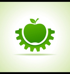 Green apple make gear shape business technology vector