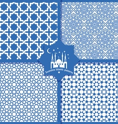 Seamless islamic patterns set in blue vector