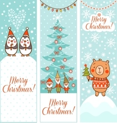 Set of vertical christmas banners vector