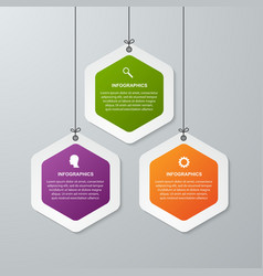 Abstract 3d hexagon business options infographics vector