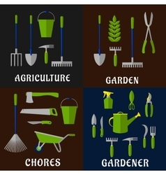 Tools for agriculture and gardening work vector