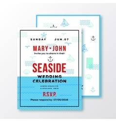 Sea side wedding invitation card or ticket vector