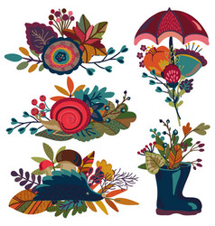 autumn bouquets fall compositions vector image