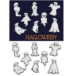 Cartoon halloween ghosts vector