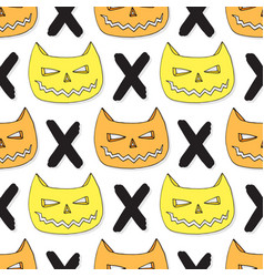 Cats skull seamless pattern halloween background vector