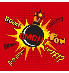 Comic bomb explosion poster vector
