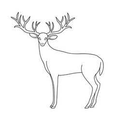 Deer with big hornsanimals single icon in outline vector