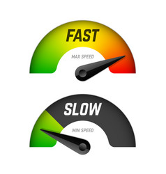 fast and slow download speedometers vector image vector image