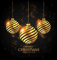 golden christmas balls on black background merry vector image vector image