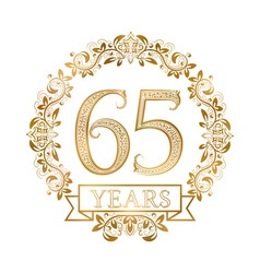 Golden emblem of sixty fifth years anniversary in vector
