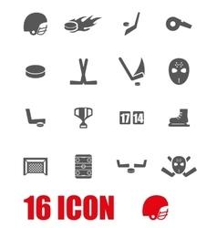 grey hockey icon set vector image vector image