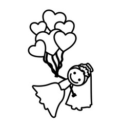 Hand drawn silhouette with bride and balloons of vector