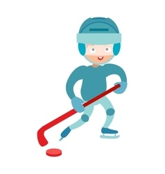 Hockey player boy cute pretty tough confident vector image