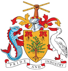 image of coat of arms of barbados vector image vector image