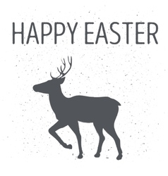 Monochrome emblem or deer poster by Easter vector image vector image