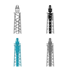 Oil rig icon in cartoon style isolated on white vector