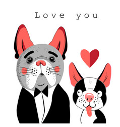 Portrait of lovers of dogs vector
