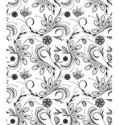 seamless floral pattern balck and white vector image vector image
